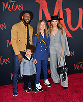 """LOS ANGELES, CA: 09, 2020: Stephen tWitch Boss, Allison Holker, Maddox Laurel Boss & Zaia Boss at the world premiere of Disney's """"Mulan"""" at the El Capitan Theatre.<br /> Picture: Paul Smith/Featureflash"""