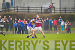 Scartaglin's Tim Coakley side steps Barry Lordan of Diarmuid Mathunas, Cork in the Munster Novice Final last Sunday in Knockaderry.