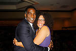 "Norm Lewis ""Keith McLean"" on All My Children poses with Rain Pryor as they both perform - Norm singing and Rain in her own play ""Fried Chicken and Latkes"" at The National Black Theatre Festival with a week of plays, workshops and much more with an opening night gala of dinner, awards presentation followed by Black Stars of the Great White Way followed by a celebrity reception. It is an International Celebration and Reunion of Spirit. (Photo by Sue Coflin/Max Photos)"