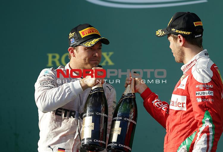 20.03.2016. Albert-Park-Circuit, Melbourne,  AUS, F1, Formula 1 Rolex Australien Grand Prix,  Race01 im Bild   <br /> Podium:<br /> Sieger des Rennens Nico Rosberg (GER#6), Mercedes AMG Petronas Formula One Team,<br /> 3.Platz f&uuml;r Sebastian Vettel (GER#5), Scuderia Ferrari<br /> <br /> <br /> Foto &copy; nordphoto /  Bratic