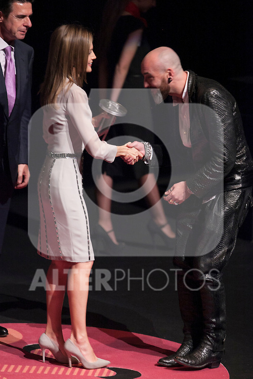 "Princess Letizia of Spain, fashion designer Roberto Etxeberria and Industry and Energy Minister Jose Manuel Soria attend ""PREMIOS NACIONALES DE LA MODA"" fashion awards ceremony at Reina Sofia museum in Madrid, Spain. June 06, 2013. (ALTERPHOTOS/Victor Blanco)"