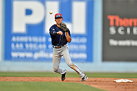 Charleston RiverDogs shortstop Hoy Jun Park (1) makes the throw to complete a double play during a game against the Asheville Tourists at McCormick Field on July 4, 2017 in Asheville, North Carolina. The Tourists defeated the RiverDogs 2-1. (Tony Farlow/Four Seam Images)