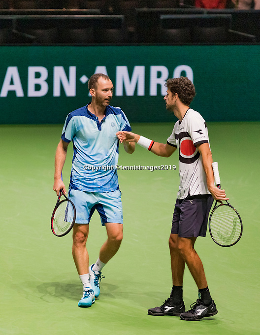 Rotterdam, The Netherlands, 14 Februari 2019, ABNAMRO World Tennis Tournament, Ahoy, quarter finals, doubles, Robin Haase (NED) / Matwe Middelkoop (NED),<br /> Photo: www.tennisimages.com/Henk Koster
