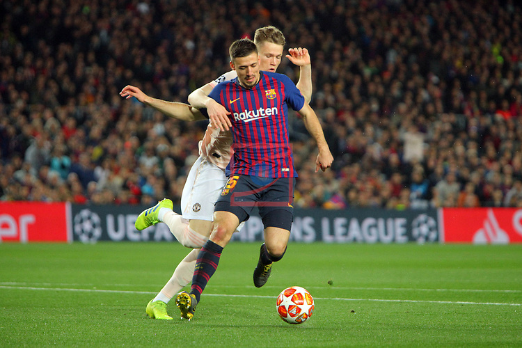 UEFA Champions League 2018/2019.<br /> Quarter-finals 2nd leg.<br /> FC Barcelona vs Manchester United: 3-0.<br /> Scott McTominay vs Clement Lenglet.