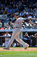 Apr 03, 2011; Bronx, NY, USA; Detroit Tigers outfielder Miguel Cabrera (24) hits his second of 2 home runs during game against the New York Yankees at Yankee Stadium. Tigers defeated the Yankees 10-7. Mandatory Credit: Tomasso De Rosa