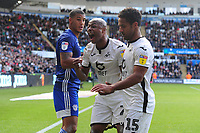 Andre Ayew of Swansea City encourages the Swansea fans during the Sky Bet Championship match between Swansea City and Cardiff City at the Liberty Stadium in Swansea, Wales, UK. Sunday 27 October 2019