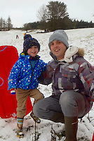 SNOW WEATHER WALES<br /> Pictured: A father and son enjoy the snow in Storey Arms in the Brecon Beacons, Wales, UK. Friday 13 January 2017<br /> Re: Heavy snow affects parts of the UK
