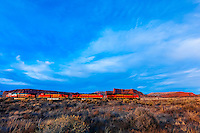 Freight train carrying containers, near Gallup, New Mexico USA.