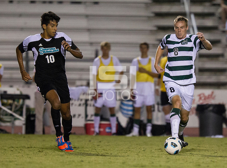 Number 8 ranked Charlotte beats number 16 ranked Coastal Carolina 1-0 on a goal by Thomas Allen in the 101st minute during the second overtime.  Alan Kirkbride (8), Pedro Ribeiro (10)