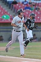 Ben Turner (18) of the San Jose Giants runs to first base during a game against the High Desert Mavericks at Mavericks Stadium on June 14, 2015 in Adelanto, California. High Desert defeated San Jose, 7-5. (Larry Goren/Four Seam Images)