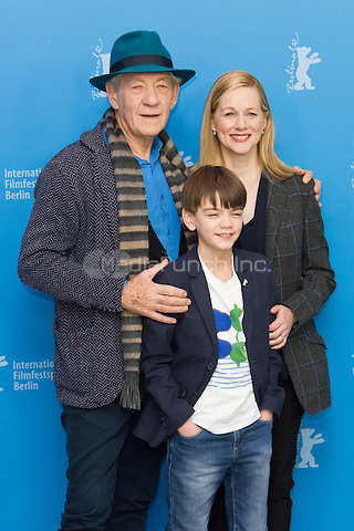 Ian McKellen, Laura Linney and Milo Parker attending the Mr. Holmes photocall during Berlinale International Film Festival, Berlin, Germany, 08.02.2015. <br /> Photo by Christopher Tamcke/insight media /MediaPunch ***FOR USA ONLY***