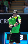 Andy Murray (GBR) defeats Yuki Bhambri (IND) 6-3, 6-4, 7-6 at the Australian Open being played at Melbourne Park in Melbourne, Australia on January 19, 2015