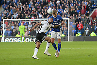 Swansea City's Andre Ayew battles with Cardiff City's Joe Bennett<br /> <br /> Photographer Ian Cook/CameraSport<br /> <br /> The EFL Sky Bet Championship - Cardiff City v Swansea City - Sunday 12th January 2020 - Cardiff City Stadium - Cardiff<br /> <br /> World Copyright © 2020 CameraSport. All rights reserved. 43 Linden Ave. Countesthorpe. Leicester. England. LE8 5PG - Tel: +44 (0) 116 277 4147 - admin@camerasport.com - www.camerasport.com