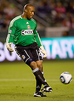 CD Chivas USA goalkeeper Zach Thornton (22) passes off a ball. The Houston Dynamo defeated CD Chivas USA 2-0 at Home Depot Center stadium in Carson, California on Saturday May 8, 2010.  .