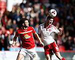 Bradden Inman of Crewe Alexandra looses out to Chris Basham of Sheffield Utd during the Sky Bet League One match at Bramall Lane Stadium. Photo credit should read: Simon Bellis/Sportimage