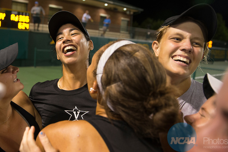19 MAY 2015:  Astra Sharma celebrates with her Vanderbilt teammates after the Commodores won The Division I Women's Tennis Championship at the Hurd Tennis Center on the Baylor University campus in Waco, TX.  Vanderbilt defeated UCLA 4-2 to win the team national title.  Darren Carroll/NCAA Photos