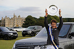 4th September 2016, Christopher Burton with the Land Rover Perpetual Trophy after winning the 2016 Land Rover Burghley Horse Trials, Stamford, United Kingdom. Jonathan Clarke