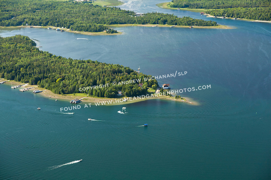 Woodland Park, Reif's Point, and Sheppard Bay behind in Les Cheneaux area of Lake Huron near Cedarville, MI