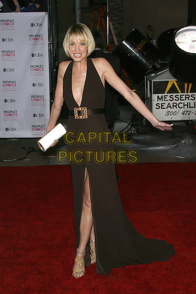 ASHLEY SCOTT.The 33rd Annual People's Choice Awards - Arrivals held at The Shrine Auditorium, Los Angeles, California, USA. .January 9th, 2007.full length brown halterneck dress plunging neckline belt slit split clutch purse white.CAP/ADM/ZL.©Zach Lipp/AdMedia/Capital Pictures