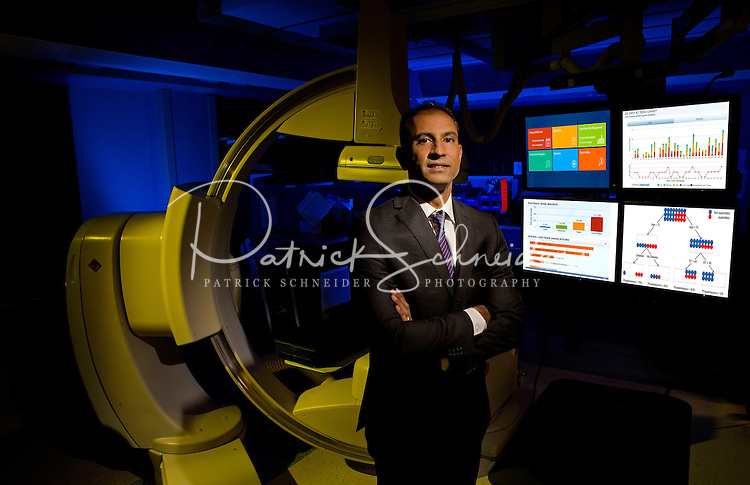 On-location Portrait Photography of  Allen Naidoo, head of  the Dickson Advanced Analytics at Carolinas HealthCare in Charlotte, North Carolina<br />