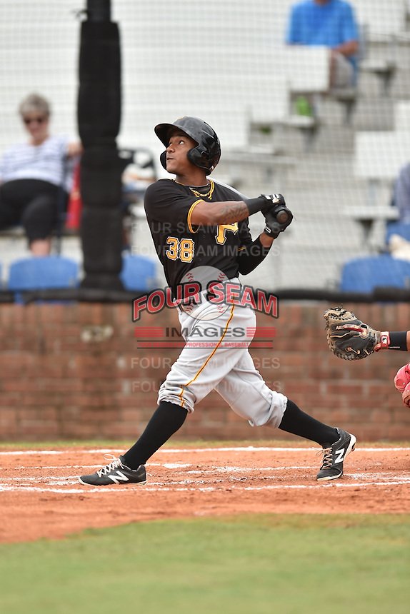 Bristol Pirates third baseman Edgardo Munoz #38 swings at a pitch during a game against the Johnson City Cardinals at Howard Johnson Field July 20, 2014 in Johnson City, Tennessee. The Pirates defeated the Cardinals 4-3. (Tony Farlow/Four Seam Images)