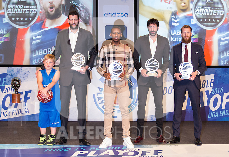 Ioannis Bourousis, Derius Adams, Alex Mumbru and Sergio Rodriguez, during presentation of the Liga Endesa playoff. May 23,2016. (ALTERPHOTOS/Rodrigo Jimenez)
