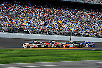 Kurt Busch (#1) leads Dale Earnhardt, Jr. (#5), Denny Hamlin (#18) and Joey Logano (#20).