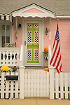 Urban 1950's house with pink, white and black checker board motif.