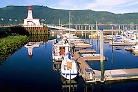 Port Alberni, BC, Vancouver Island, British Columbia, Canada - Lighthouse at Maritime Discovery Centre, Marina in Harbour