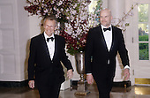 Former United States Senate Majority Leader Tom Daschle (Democrat of South Dakota), left, and son Nathan Daschle arrive for the State dinner in honor of Japanese Prime Minister Shinzo Abe and Akie Abe April 28, 2015 at the Booksellers area of the White House in Washington, DC. <br /> Credit: Olivier Douliery / Pool via CNP
