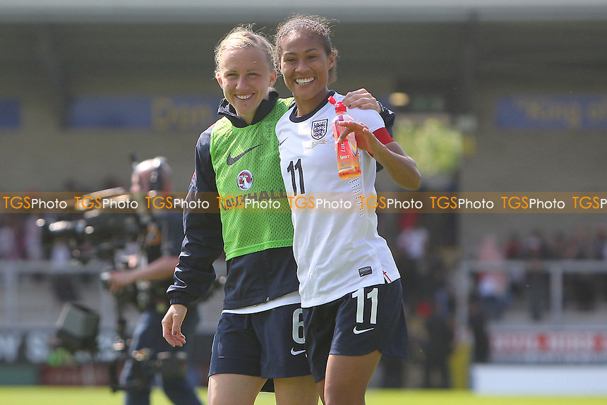 Rachel Yankey (R) leaves the field after winning her record 126th cap for England - England Women vs Japan Women - Friendly Football International at the Pirelli Stadium, Burton Albion FC - 26/06/13 - MANDATORY CREDIT: Gavin Ellis/TGSPHOTO - Self billing applies where appropriate - 0845 094 6026 - contact@tgsphoto.co.uk - NO UNPAID USE