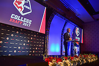 Los Angeles, CA - Thursday January 12, 2017: NWSL Commissioner Jeff Plush during the 2017 NWSL College Draft at JW Marriott Hotel.