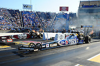 Jul, 8, 2011; Joliet, IL, USA: NHRA top fuel dragster driver Antron Brown (near lane) alongside Larry Dixon during qualifying for the Route 66 Nationals at Route 66 Raceway. Mandatory Credit: Mark J. Rebilas-