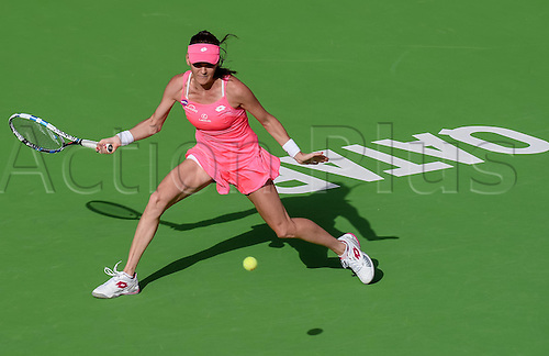 23.02.2016. Doha, Qatar. Qatar Total Open championships.  Agnieszka Radwanska of Poland competes during her womens singles second round match against Kateryna Bondarenko of Ukraine at the WTA Tennis Damen Qatar Open 2016 in Doha, Qatar, Feb. 23, 2016. Radwanska won 2-0.