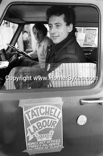 The Gay Rights campaigner Peter Tatchell seeks to be elected at the Bermondsey by-election South London to the Labour party as a MP. England. 1983
