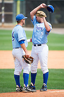 April 29, 2012: Memphis inf Jacob Wilson (9) has a talk with Memphis rhp Chase Joiner (5) in the top the 8th during game 3 of C-USA NCAA baseball game action between the Memphis Tigers and the Central Florida Knights. Memphis defeated UCF 1-0 to win the series at Jay Bergman Field in Orlando, FL