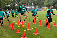 NORG - Voetbal, Trainingskamp FC Groningen, voorbereiding seizoen 2018-2019, 10-07-2018,  FC Groningen speler Mimoun Mahi en FC Groningen doelman Jan Hoekstra