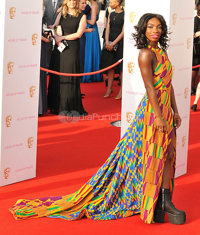 Michaela Coel at the British Academy (BAFTA) Television Awards 2016, Royal Festival Hall, Belvedere Road, London, England, UK, on Sunday 08 May 2016.<br /> CAP/CAN<br /> &copy;CAN/Capital Pictures /MediaPunch ***NORTH AMERICAN AND SOUTH AMERICAN SALES ONLY***