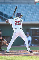 Lancaster JetHawks left fielder Ramon Marcelino (25) during a California League game against the Lake Elsinore Storm on April 10, 2019 at The Hangar in Lancaster, California. Lake Elsinore defeated Lancaster 10-0 in the first game of a doubleheader. (Zachary Lucy/Four Seam Images)
