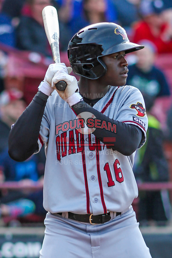 Quad Cities River Bandits outfielder Daz Cameron (16) waits on deck during a Midwest League game against the Wisconsin Timber Rattlers on April 8, 2017 at Fox Cities Stadium in Appleton, Wisconsin.  Wisconsin defeated Quad Cities 3-2. (Brad Krause/Four Seam Images)