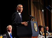 United States President Barack Obama makes remarks at the National Prayer Breakfast at the Washington Hilton Hotel in Washington, D.C. on February 5, 2015.  U.S. and international leaders from different parties and religions gather annually at this event for an hour devoted to faith and prayer.<br /> Credit: Dennis Brack / Pool via CNP