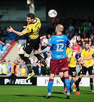 Bolton Wanderers' Dorian Dervite vies for possession with Scunthorpe United's Neil Bishop<br /> <br /> Photographer Chris Vaughan/CameraSport<br /> <br /> The EFL Sky Bet League One - Scunthorpe United v Bolton Wanderers - Saturday 8th April 2017 - Glanford Park - Scunthorpe<br /> <br /> World Copyright &copy; 2017 CameraSport. All rights reserved. 43 Linden Ave. Countesthorpe. Leicester. England. LE8 5PG - Tel: +44 (0) 116 277 4147 - admin@camerasport.com - www.camerasport.com