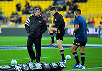 All Blacks assistant coach Ian Foster talks to Beauden Barrett and Richie Mo'unga during the Rugby Championship rugby union match between the New Zealand All Blacks and South Africa Springboks at Westpac Stadium in Wellington, New Zealand on Saturday, 27 July 2019. Photo: Dave Lintott / lintottphoto.co.nz