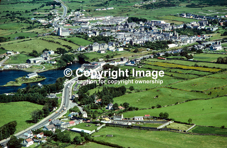 Aerial photograph, Ballyshannon, Co Donegal, Rep of Ireland, 19790162a..Copyright Image from Victor Patterson, 54 Dorchester Park, Belfast, UK, BT9 6RJ..Tel: +44 28 9066 1296.Mob: +44 7802 353836.Voicemail +44 20 8816 7153.Skype: victorpattersonbelfast.Email: victorpatterson@me.com.Email: victorpatterson@ireland.com (back-up)..IMPORTANT: If you wish to use this image or any other of my images please go to www.victorpatterson.com and click on the Terms & Conditions. Then contact me by email or phone with the reference number(s) of the image(s) concerned.