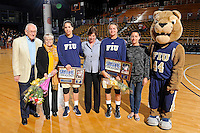 25 February 2012:  FIU's seniors, guard Fanni Hutlassa (10) and guard Sasha Melnikova (5), are pictured with Head Coach Cindy Russo and relatives during a ceremony prior to the game.  The FIU Golden Panthers defeated the University of South Alabama Jaguars, 58-55 (OT), at the U.S. Century Bank Arena in Miami, Florida.