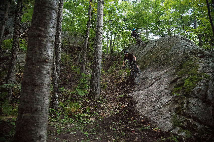 Mountain biking the Dobbs Trail at Harlow Lake area near Marquette, Michigan.