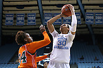 17 November 2015: North Carolina's Hillary Summers (30) shoots over Florida A&M's Kenya Dixon (34). The University of North Carolina Tar Heels hosted the Florida A&M University Rattlers at Carmichael Arena in Chapel Hill, North Carolina in a 2015-16 NCAA Division I Women's Basketball game. UNC won the game 94-58.