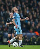 Pablo Zabaleta of Manchester City shows his frustration during the UEFA Champions League GROUP match between Manchester City and Celtic at the Etihad Stadium, Manchester, England on 6 December 2016. Photo by Andy Rowland.