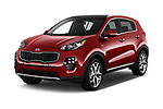 2019 KIA Sportage SX Turbo 5 Door SUV angular front stock photos of front three quarter view