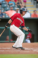 Oklahoma City RedHawks third baseman Joe Sclafani (22) at bat during the Pacific League game against the Colorado Springs Sky Sox at the Chickasaw Bricktown Ballpark on August 3, 2014 in Oklahoma City, Oklahoma.  The RedHawks defeated the Sky Sox 8-1.  (William Purnell/Four Seam Images)